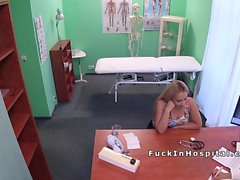 Busty blonde Russian babe fucks doctor