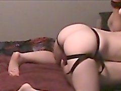 Horny guy invites his wife to fuck his needy ass with a str