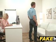 Female Agent Cocky stud wants busty blonde agents wet tight pussy