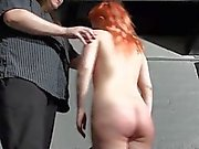 Spanking redhead amateur Tiny in harsh dungeon