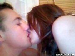 Hot amateur brunette girlfriend strips, sucks and fucks her boyfriend