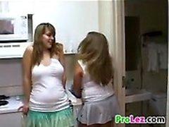 Cute Amateur Lesbians In The Kitchen