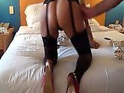Doggy-style and crimson pumps fuck in tights that are black