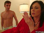 Lingerie clad MILF Kendra Lust seducing a boy