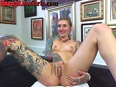 Hot Tattooed Webcam Slut Stuffs Her Holes