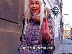 Cute amateur blondie Czech girl Karol flashes