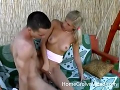 Young blonde fucked outdoors