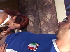 Kinky redhead MILF gets nailed in hot threesome
