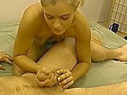 Petite blonde amateur gf giving a sexy handjob