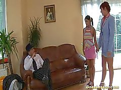 Milf and Teen fucked by boss