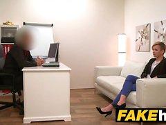 Fake Agent Short haired tattoo babe banged hard