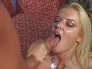 Barbara Summers gets splattered with warm dick juice
