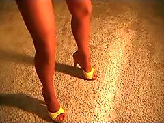 Hot Wife Wearing Pantyhose, Denim Shorts and Heels