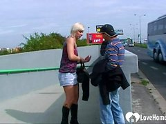 Banging a hot blonde babe in public