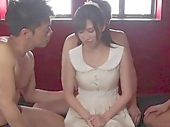 Japanese stunner Suzu takes hungry hard dicks in a gang bang