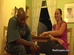 Real interracial couple filmed before and during sex