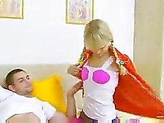 Hot Schoolgirl Strokes A Salami