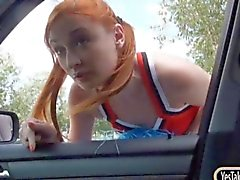 Redhead cheerleader Eva Berger pussy fucked in the car