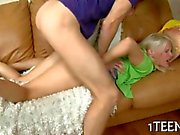 Wild doggystyle plowing ravages a blonde teens clam