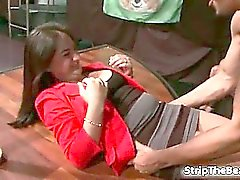 Sexy brunette slut gets horny getting