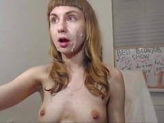 Depraved camwhore with toy lips throats dildo