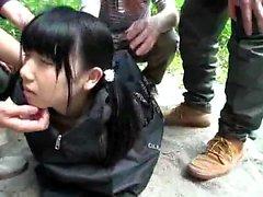 Hardcore group fuck outdoor for a teen brunette girl