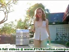 MaeLynn fragile little blonde masturbating with glass jar and inserting glass jar in pussy