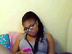 Ebony Nerd Fingers Her Pussy