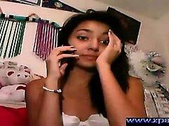 Latina brunette babe solo tease
