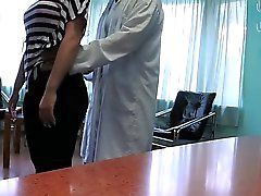 Doctor fucks patient at reception in a fake hospital