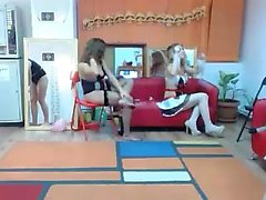 Brunette lesbian threesome at play