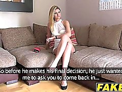Sexy blonde babe Eva rides a hard cock on a casting shoot