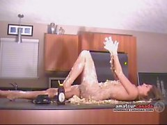 Messy crushed cake whipped cream naked striptease by bikini