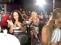 Blonde sucks off the dick in the group