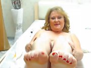Pretty BBW GILF Feet in face - no sound