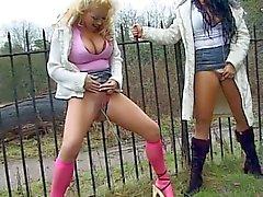 Big boobies pissing lesbian sluts enjoying nasty pussy playing