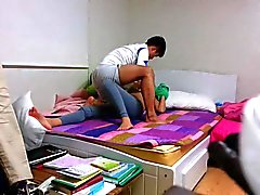 Amateur young couple making hardcore sex.