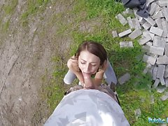 Amateur fucked outdoors