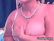 Busty MILF bitch masturbating in black lingerie
