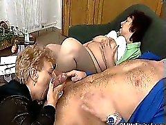 Nasty old sluts go crazy sucking cocks