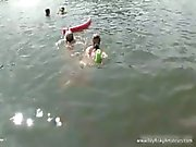 Two hot friends get naked in the water part4
