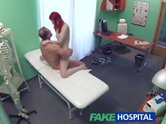 FakeHospital Cute redhead rides doctor for cash