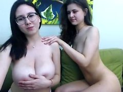 Huge boobs lesbian webcam sex show