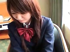 Beautiful Japanese schoolgirl putting her marvelous body on