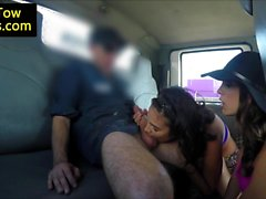 Amateur babes blowing truck drivers cock