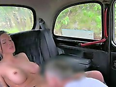 Hot busty amateur gets creampie in fake taxi