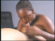 Dark skinned nympho with big hooters offers a white guy a nice blowjob