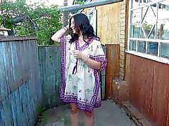 Russian Girl Pissing standing on her panties)