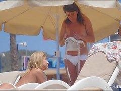 White bikini looks so good on a beach babe