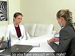 Euro lesbian eating pussy during casting